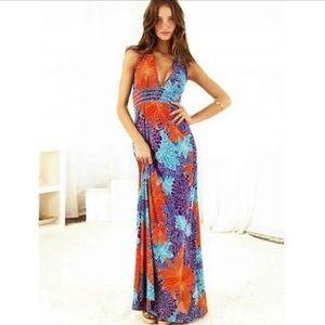 Moda Victoria's Secret Maxi Tropical Halter Dress